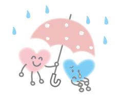 傘をさしかけるハートのイラスト