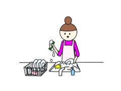 洗い物する母