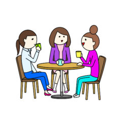 カフェでお茶をする女性3人