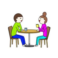 お茶しながら話す夫婦