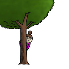 木の陰から覗き見る母親