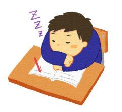 勉強せずに居眠りする男の子