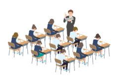塾で勉強する中学生たち