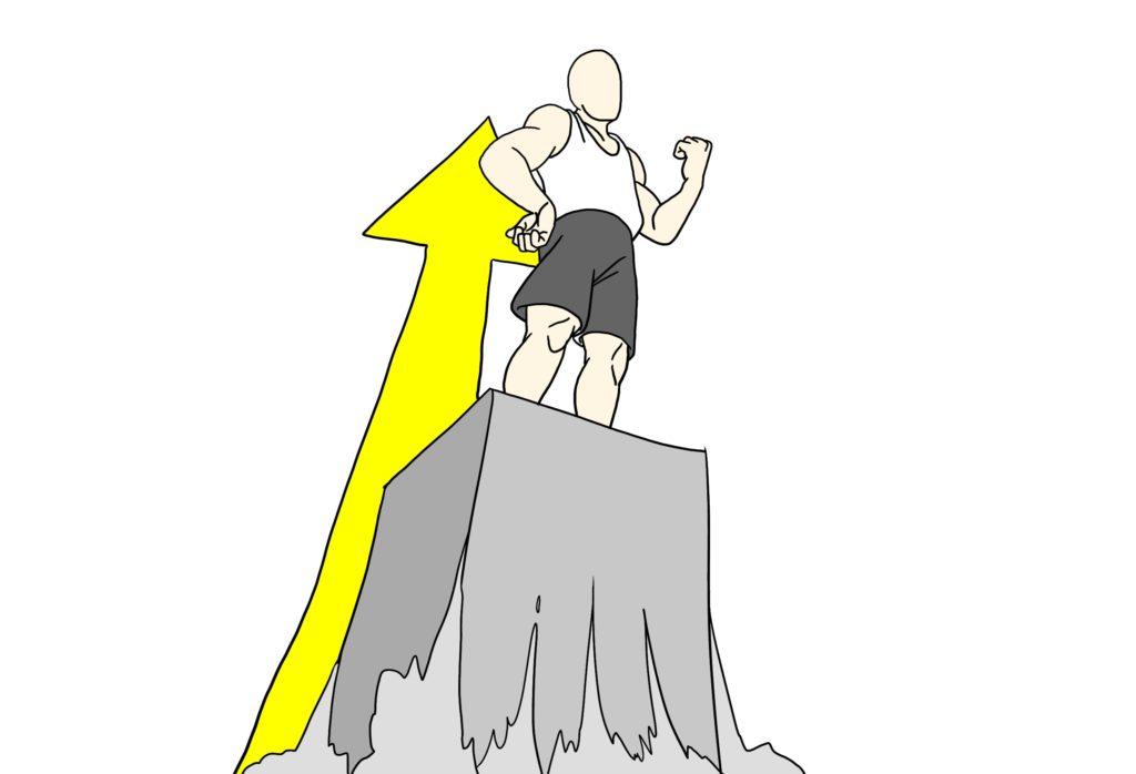 頂点に立つ(自立)男の子