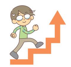 ステップアップするメガネの男の子(挽回のイメージ)
