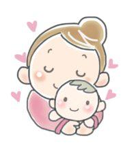 赤ちゃんを抱きかかえる母親
