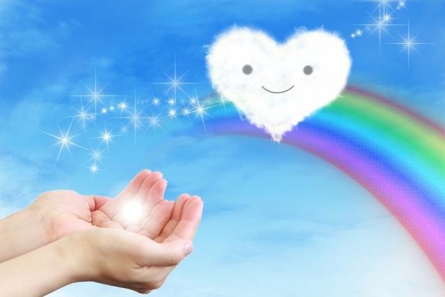手からハート(背景は青空に虹)