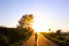 朝日の道を走る女性