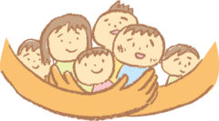 子どもを見守る親の手