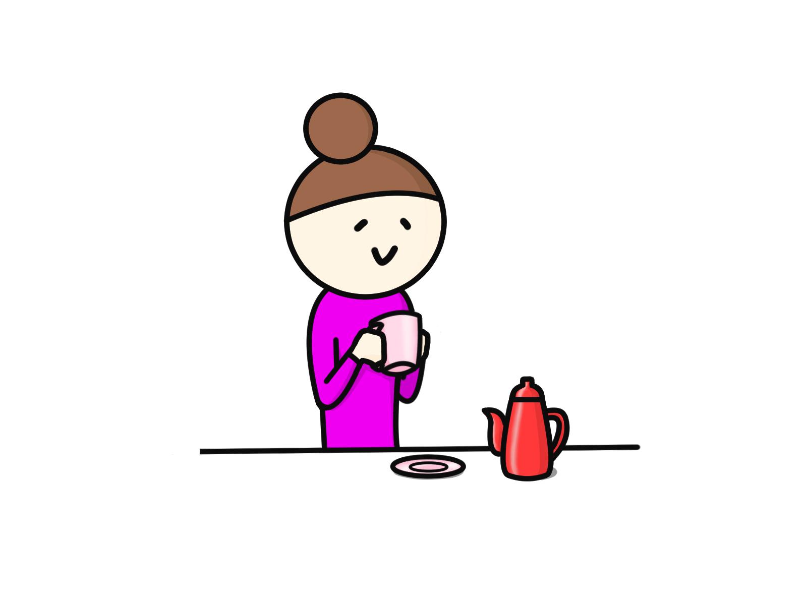 笑顔でお茶する母親